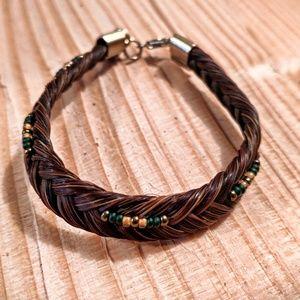 Braided Horsebair Beaded Single Wrap Bracelet